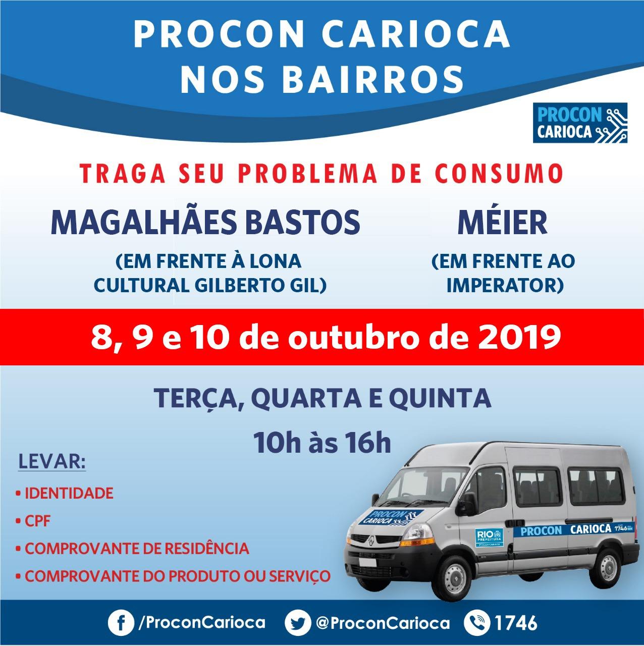 Procon Carioca atende em Magalhães Bastos e Méier