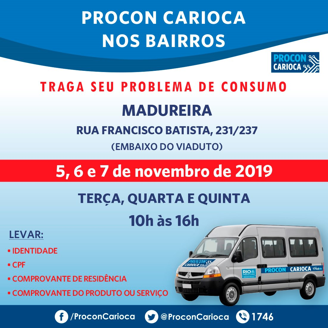 Procon Carioca atende em Madureira e Paciência nesta semana