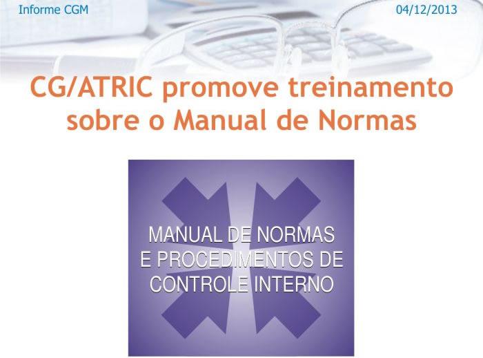 ATRIC da CGM - realiza treinamento sobre Manual de Normas e Procedimentos de Controle Interno
