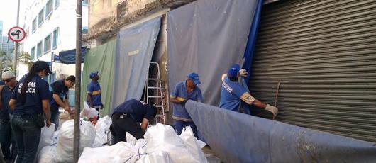 Ordem Pública retira puxadinho irregular utilizado por estabelecimento comercial no Centro