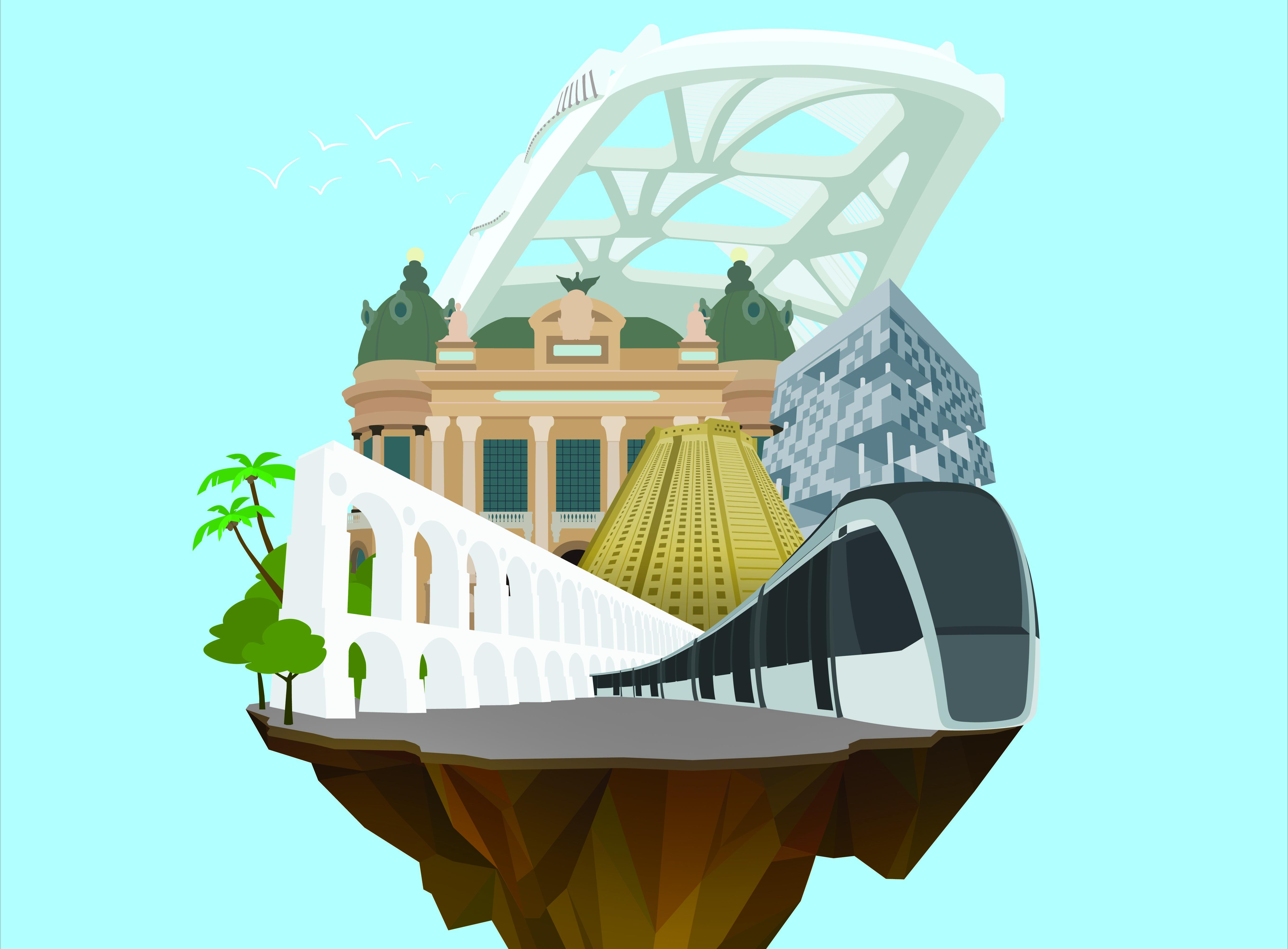 Imagem com ícones do Centro do Rio vence 4º concurso 'Rio em Cartaz'
