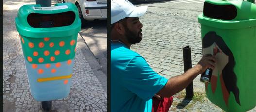 Rio Eu amo Eu Cuido faz galeria de arte urbana com lixeiras de rua