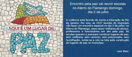 Encontro pela paz vai reunir escolas no Aterro do Flamengo domingo, dia 2 de julho