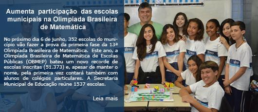 Aumenta participação das escolas municipais na Olimpíada Brasileira de Matemática