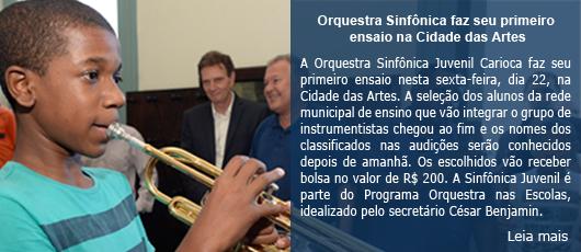 Orquestra Sinfônica Juvenil Carioca faz seu primeiro ensaio na sexta, dia 15