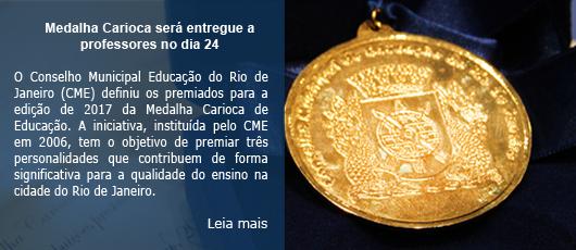 Medalha Carioca será entregue a professores no dia 24