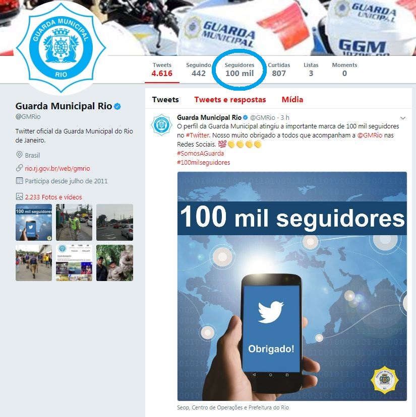 Guarda Municipal alcança marca de 100 mil seguidores no Twitter
