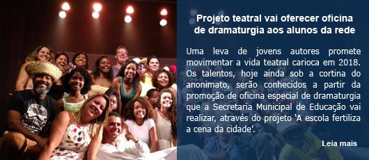 Projeto teatral vai oferecer oficina de dramaturgia aos alunos da rede