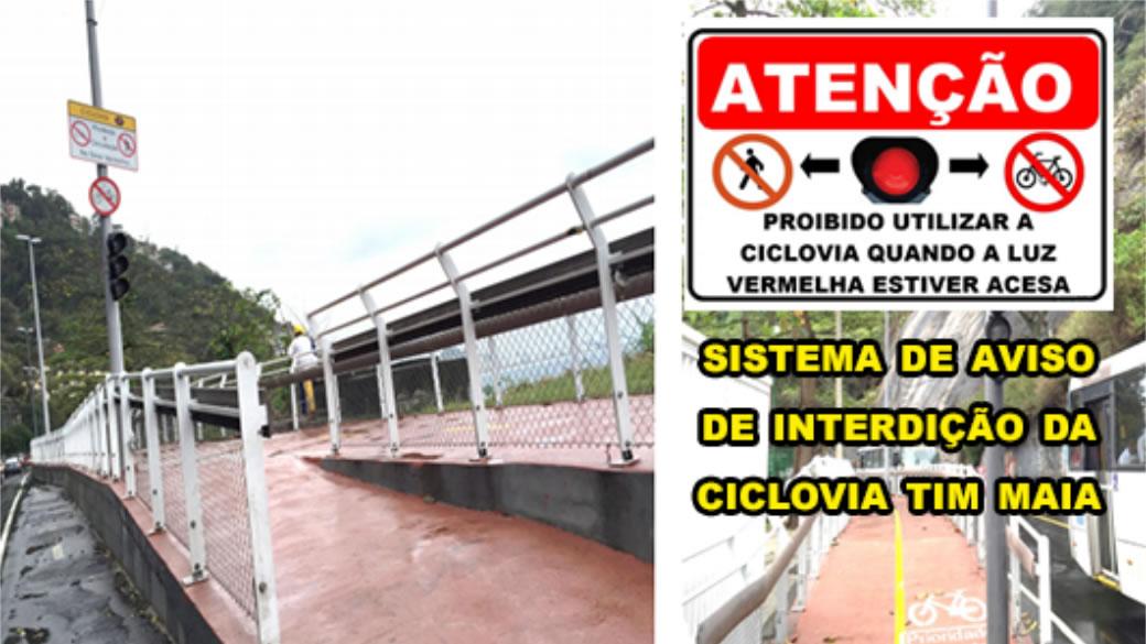 Defesa Civil divulga protocolo do sistema de aviso de interdição da ciclovia tim maia