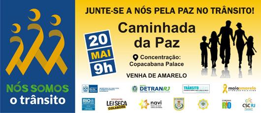 Prefeitura do Rio participa da organização da Caminhada Pela Paz no Trânsito, em Copacabana.