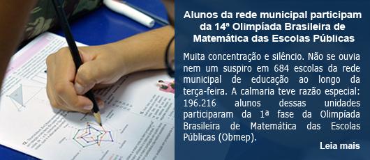 Alunos da rede municipal participam da 14ª Olimpíada Brasileira de Matemática das Escolas Públicas