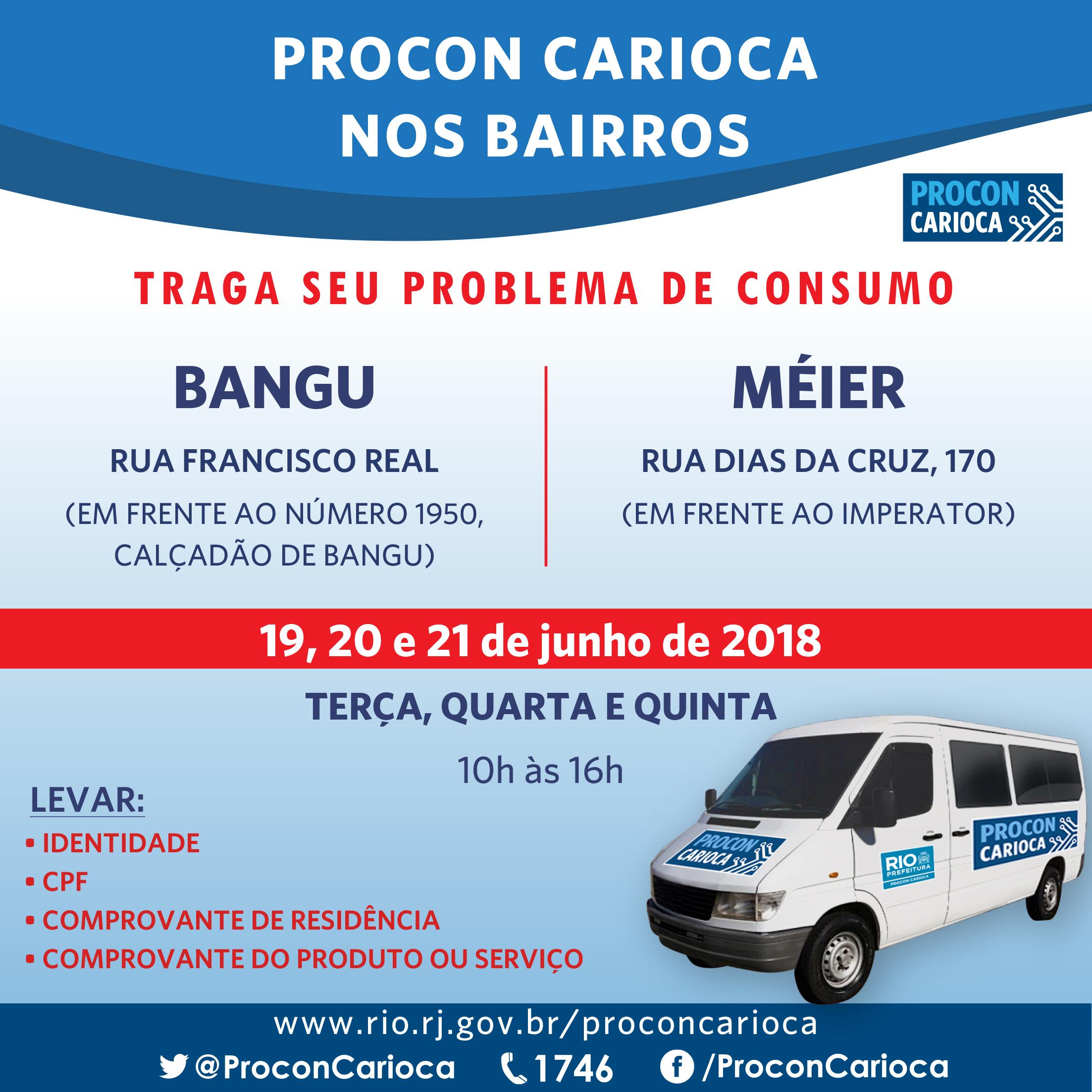 Vans do Procon Carioca em Bangu e no Méier