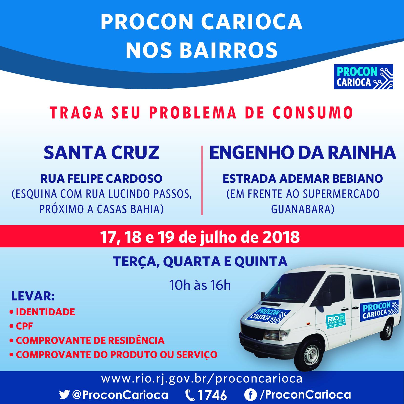 Procon Carioca atende consumidores  em Santa Cruz e no Engenho da Rainha