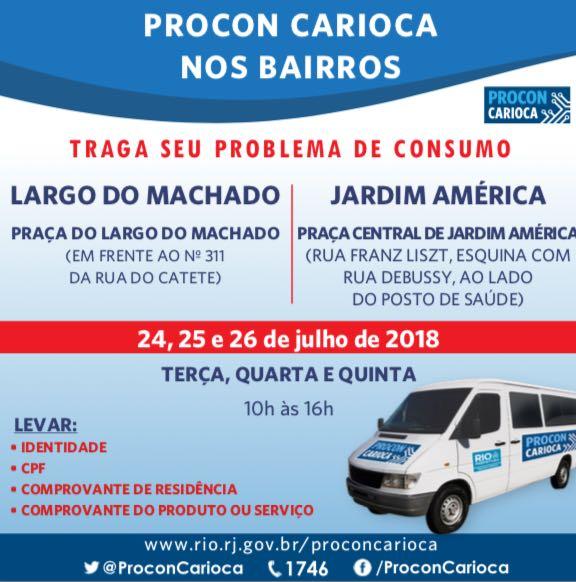 Largo do Machado e Jardim América  recebem o Procon Carioca itinerante