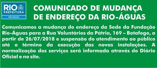 COMUNICADO DE MUDANÇA DE ENDEREÇO