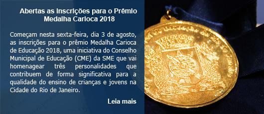 Abertas as inscrições para o Prêmio Medalha Carioca 2018