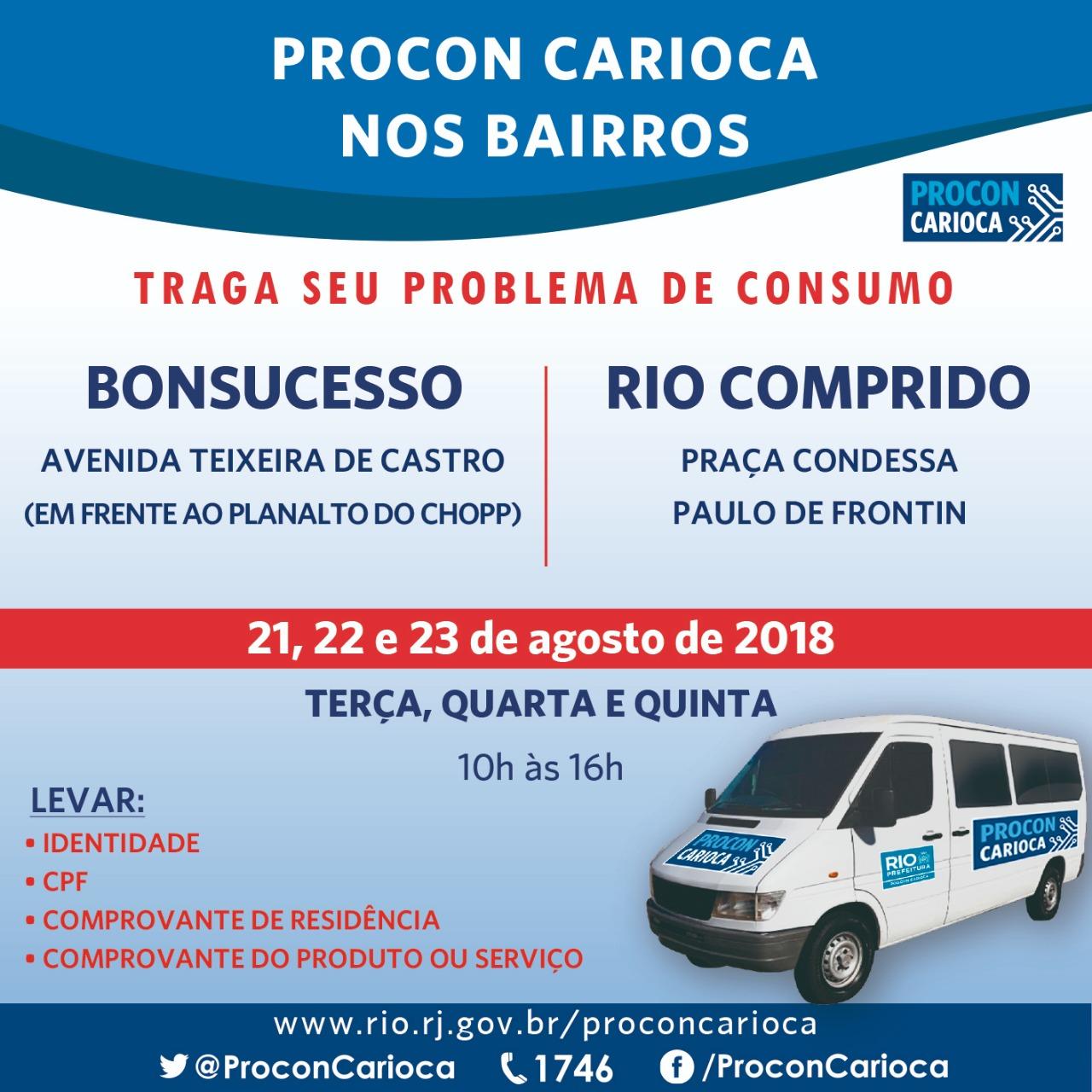População recebe atendimento do Procon Carioca em Bonsucesso e no Rio Comprido
