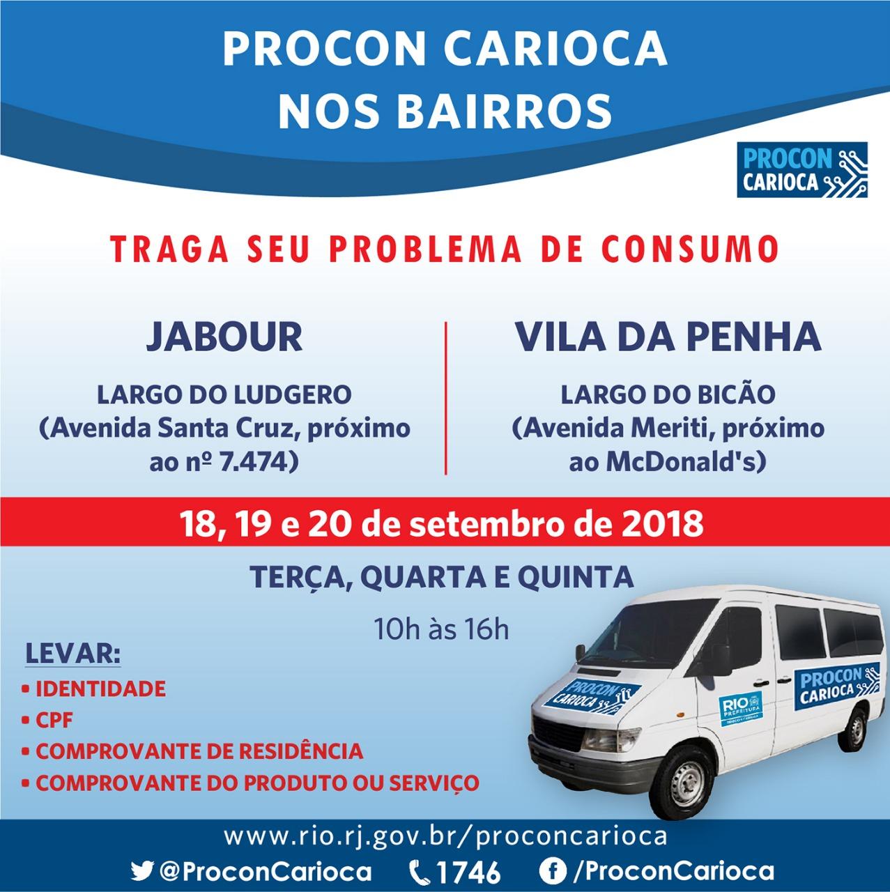 Atendimento itinerante do Procon Carioca chega ao Jabour e à Vila da Penha