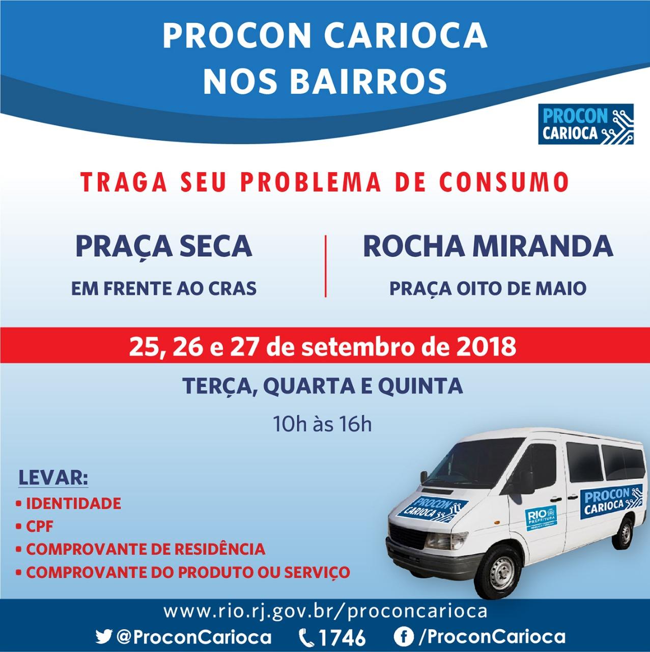Praça Seca e Rocha Miranda recebem atendimento do Procon Carioca