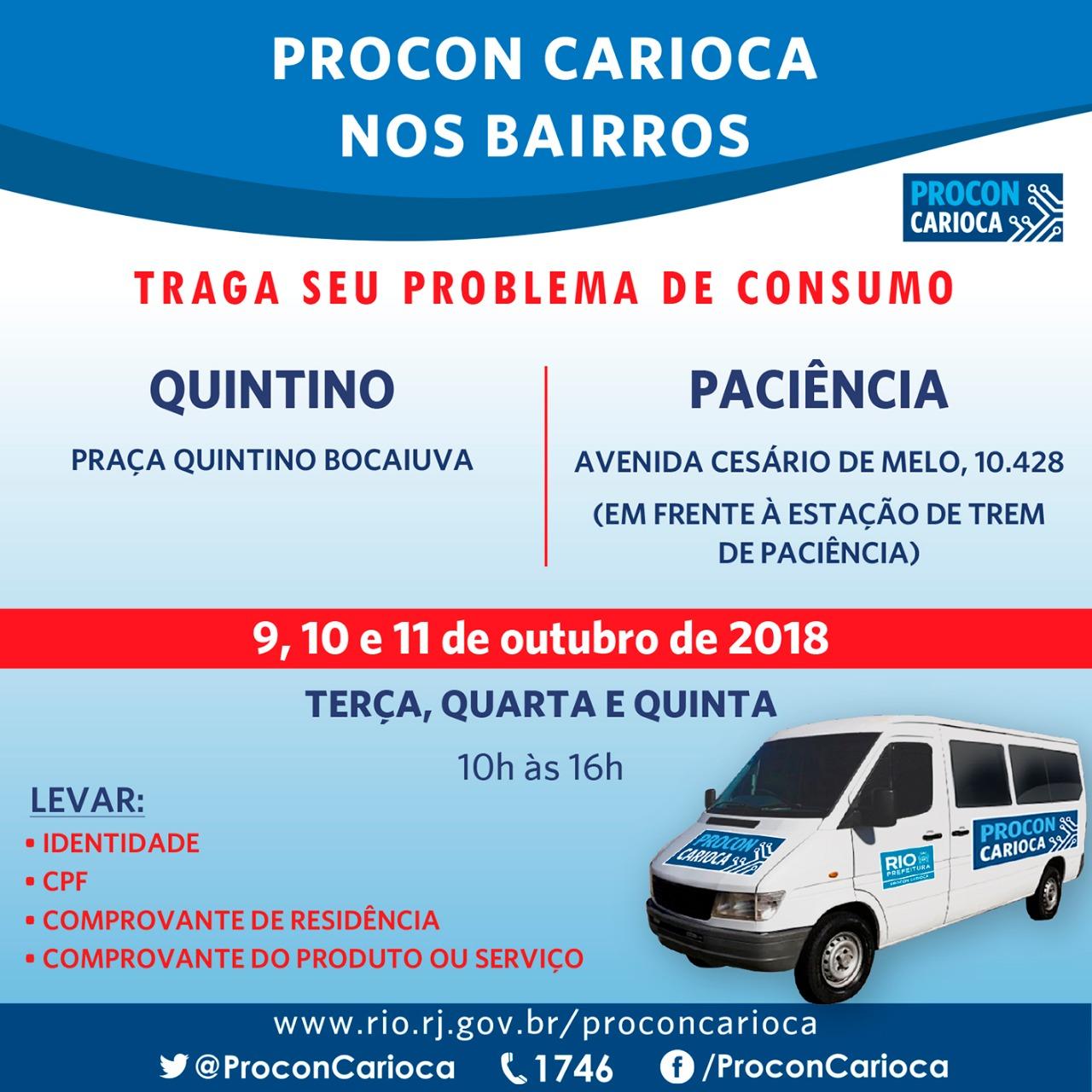 Quintino e Paciência recebem o Procon Carioca de terça a quinta