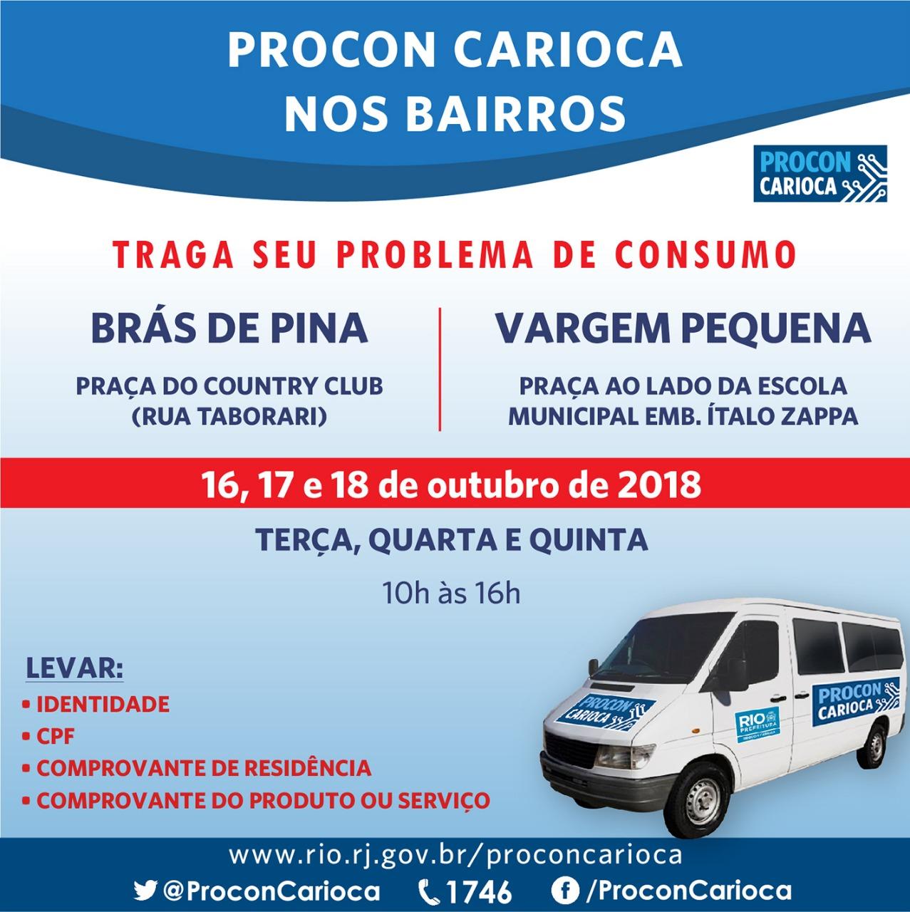 Procon Carioca atende Brás de Pina e Vargem Pequena nesta semana