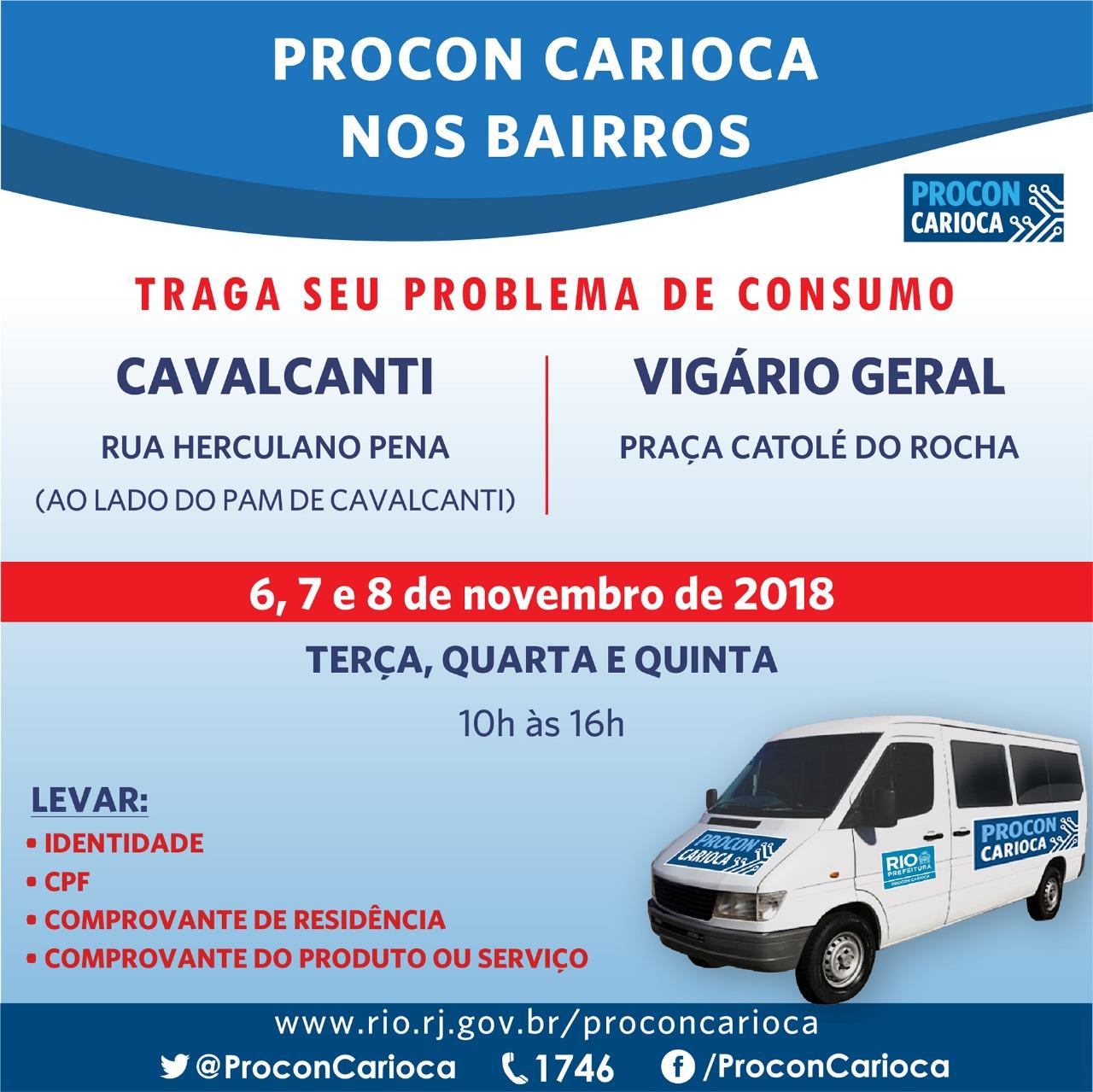 Atendimento do Procon Carioca será em Cavalcanti e Vigário Geral