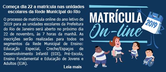 Começa dia 22 a matrícula nas unidades escolares da Rede Municipal do Rio
