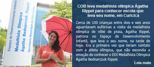 COB leva medalhista olímpica Ágatha Rippel para conhecer escola que leva seu nome, em Curicica