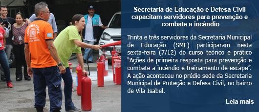 Secretaria de Educação e Defesa Civil capacitam servidores para prevenção e combate a incêndio