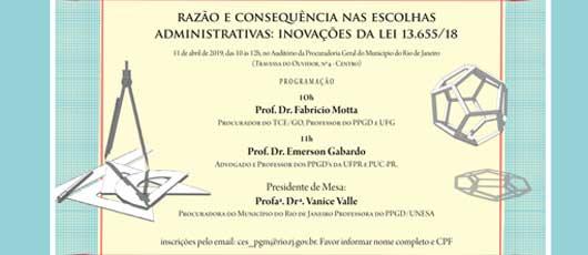PGM promove palestra sobre Inovações na Lei 13.655/18