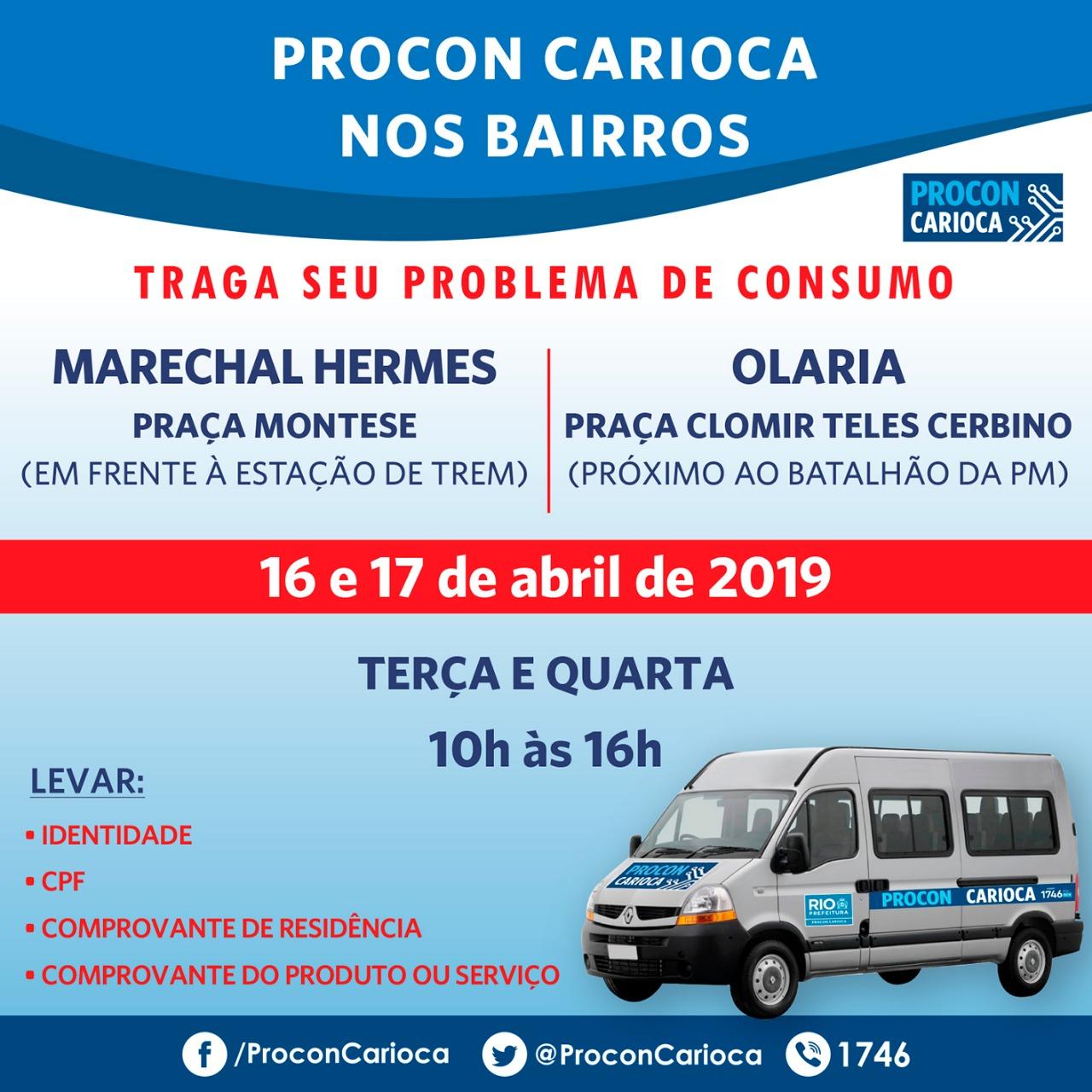 Procon Carioca nos Bairros chega a Olaria e Marechal Hermes