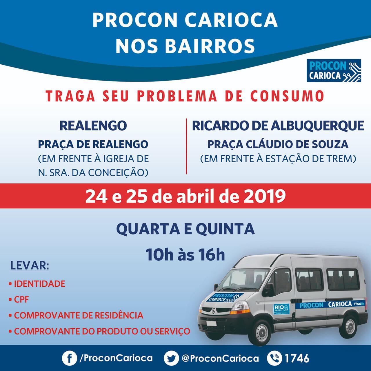 Procon Carioca nos Bairros chega a Realengo e Ricardo de Albuquerque