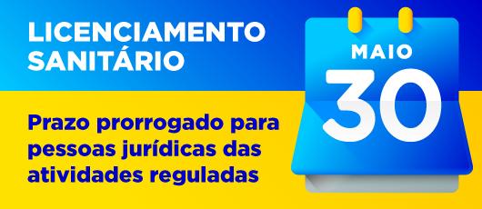 BANNER PRAZO PRORROGADO - LICENCA SANITARIA